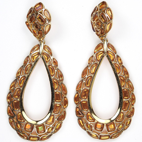 Trifari 'Modern Mosaics' Citrine and Topaz Poured Glass Giant Pendant Loop Clip Earrings