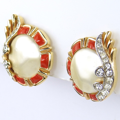 Trifari 'Alfred Philippe' 1960s Ming Series Red Enamel and Mother of Pearl Button Clip Earrings