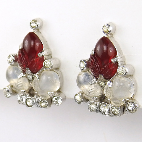 KTF Trifari 'Alfred Philippe' Ruby and Moonstone Fruit Salad Clip Earrings