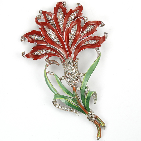 Trifari 'Alfred Philippe' Giant Pave and Enamel Red Carnation Pin Clip