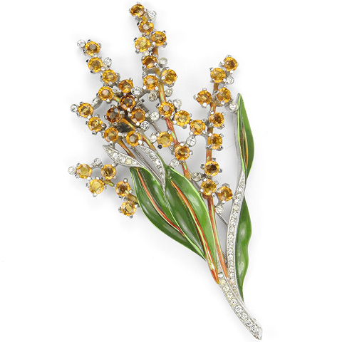 Trifari 'Alfred Philippe' Pave and Enamel Leaves and Citrine and Topaz Flowers Pin Clip