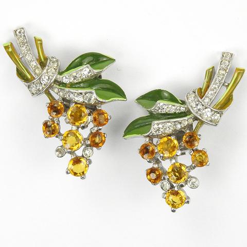 Trifari 'Alfred Philippe' Pave and Enamel Leaves and Citrine and Topaz Flowers Clip Earrings
