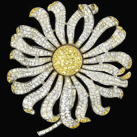 Trifari 'Alfred Philippe' Pave and Citrine Giant Sunflower or Daisy Pin