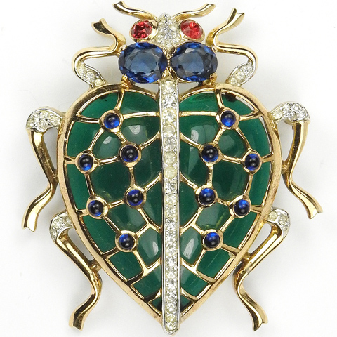 Trifari 'Alfred Philippe' Green Jelly Belly Caged Heart Shaped Bug Pin
