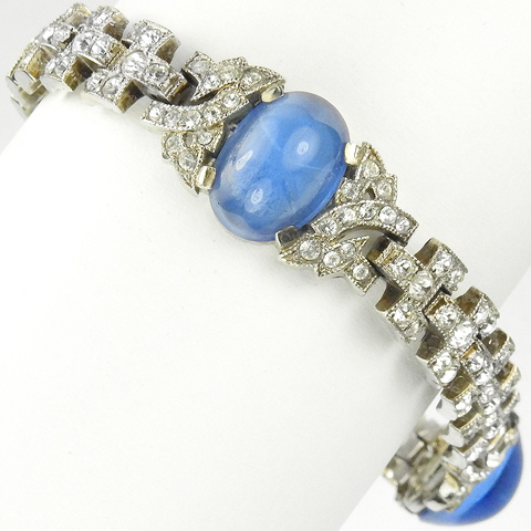 KTF Trifari 'Alfred Philippe' Deco Three Star Sapphires Pave Link Bracelet