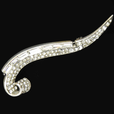 Trifari Sterling 'Alfred Philippe' Pave and Baguettes Diamante Crescent Swirl 'Eyebrow' Pin