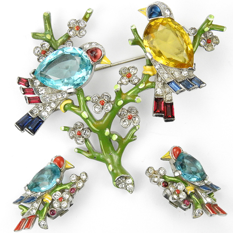 Trifari 'Alfred Philippe' Aquamarine Citrine and Enamel Two Birds on Branches Pin and Clip Earrings Set