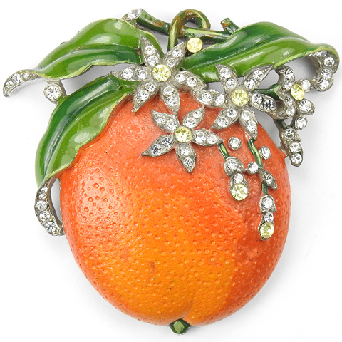 Trifari 'Alfred Philippe' Orange Fruit Pin Clip