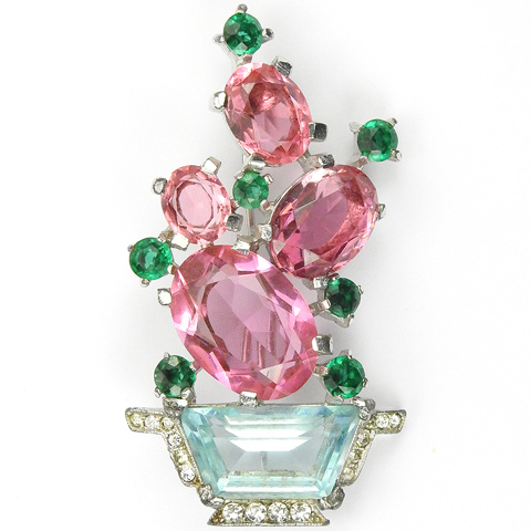 Trifari 'Alfred Philippe' Aquamarine and Pink Topaz Cactus in a Flower Pot or Basket Pin