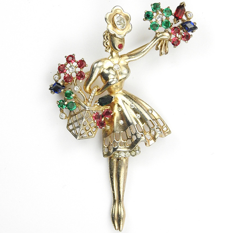 Trifari Sterling 'Alfred Philippe' Flower Seller with Flower Basket Pin