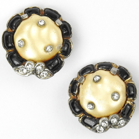 Trifari 'Alfred Philippe' Pave Black Enamel and Pearl Ming Button Clip Earrings
