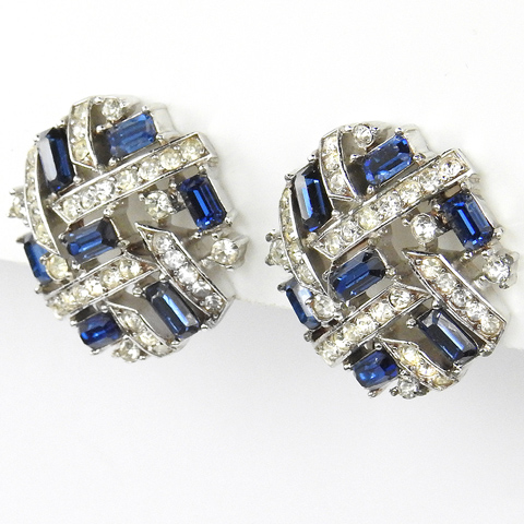 Trifari 'Alfred Philippe' Pave and Sapphire Baguettes Checkerboard Button Clip Earrings