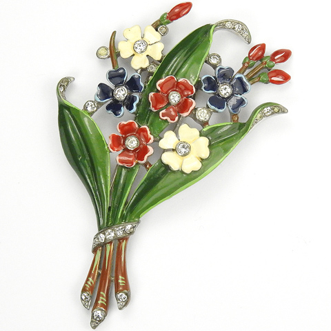 Trifari 'Alfred Philippe' US Patriotic Red White and Blue Floral Bouquet Pin Clip