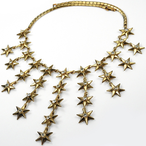 Trifari 'Alfred Philippe' 'Star Bright' Golden Six Pointed Spangled Stars Graduated Multiple Pendant Necklace