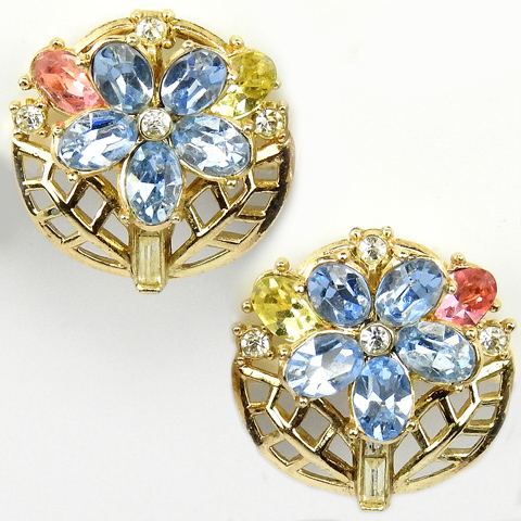 Trifari 'Alfred Philippe' Aqua Pink Topaz and Citrine Flowers and Leaves Clip Earrings