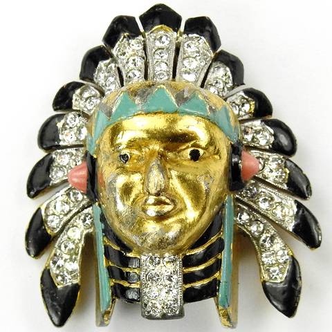 Trifari 'Alfred Philippe' Pave and Enamel North American Indian Chieftain's Head Pin Clip