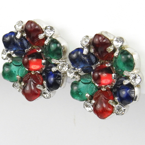 Trifari 'Alfred Philippe' Tricolour Fruit Salad Hexagonal Flower Clip Earrings