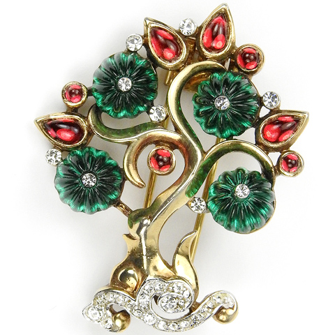 Trifari 'Alfred Philippe' Ruby and Emerald Moghul Tree Pin Clip