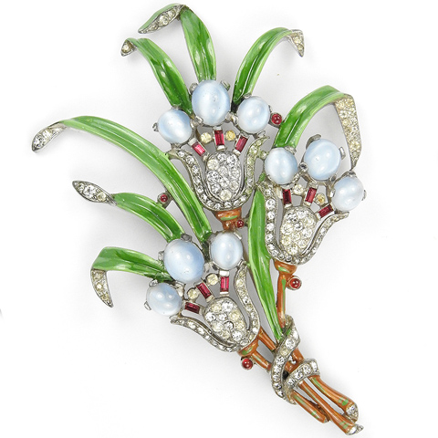 Trifari 'Alfred Philippe' Triple Blue Moonstone and Ruby Bell Flowers Pin