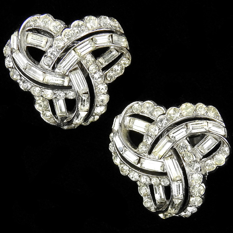 Trifari 'Alfred Philippe' Pave and Baguettes Triple Infinite Loop Clip Earrings