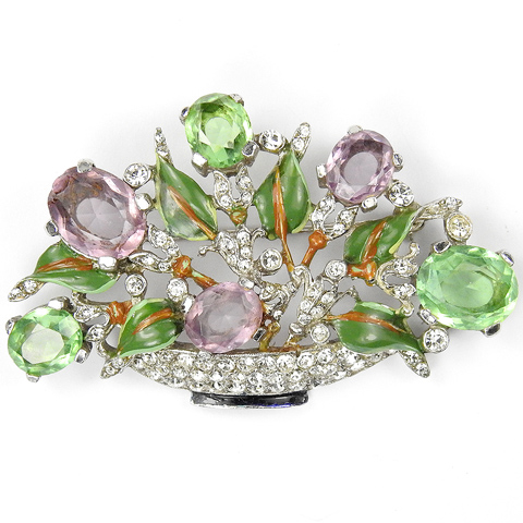 Trifari 'Alfred Philippe' Pave Enamel Amethyst and Peridot Medium Pastel Flower Basket Pin