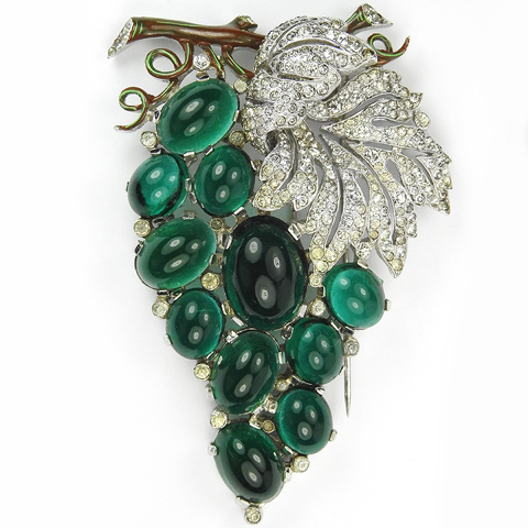 Trifari 'Alfred Philippe' Emerald Cabochon Grapes on Vine Pin Clip