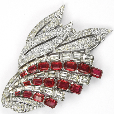 KTF Trifari 'Alfred Philippe' Pave and Baguettes Ruby Leaf Spray Deco Dress Clip