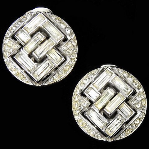Trifari 'Alfred Philippe' Pave Buttons and Interlinked Baguette Clip Earrings