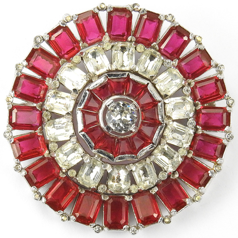 KTF Trifari 'Alfred Philippe' Ruby Baguettes and Diamante Pinwheel Pin