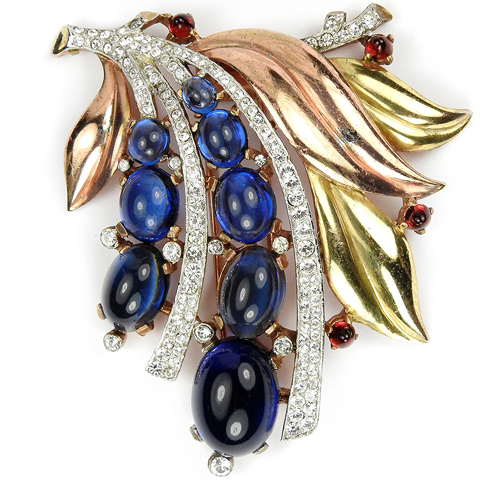 Trifari 'Alfred Philippe' Graduated Sapphire Cabochons Fruit and Two Colour Gold Leaves Floral Spray Pin Clip