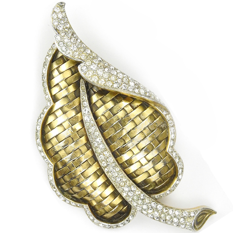Trifari 'Alfred Philippe' Pave and Gold Basketweave Curling Leaf Pin Clip