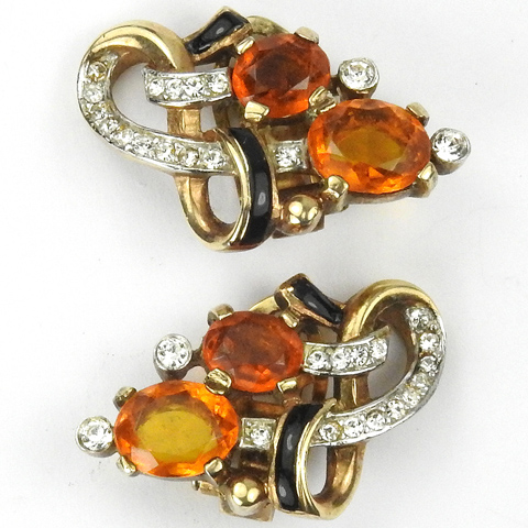 Trifari 'Alfred Philippe' Pave Black Enamel and Citrine Swirls Clip Earrings