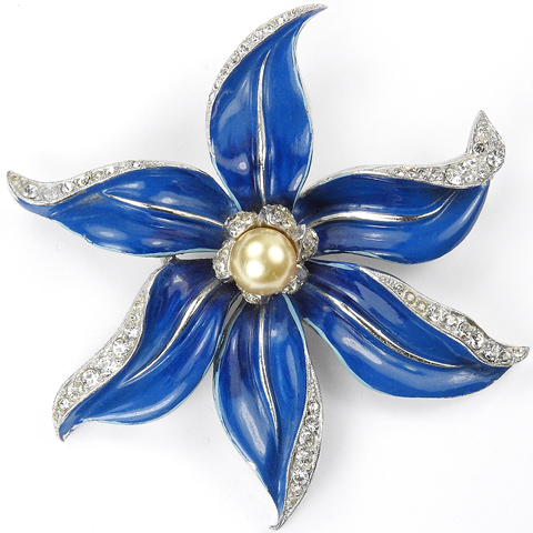 Trifari 'David Mir' Pave and Blue Enamel Single Clematis Flower with Pearl Pin