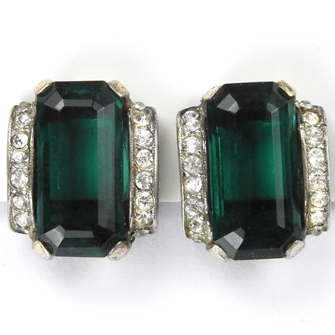Trifari Sterling 'Alfred Philippe' Deco Pave and Emerald Clip Earrings