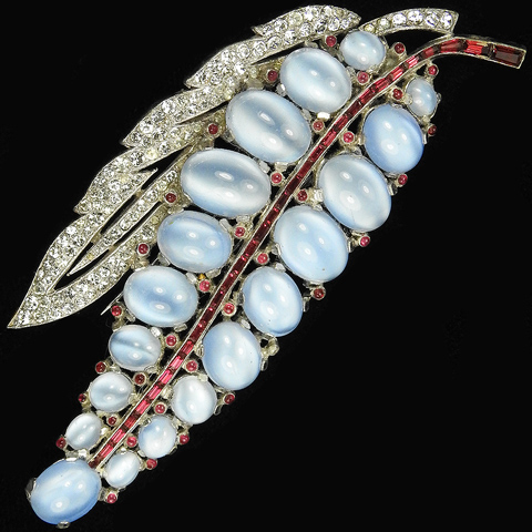 Trifari 'Alfred Philippe' Blue Moonstone And Invisibly Set Rubies Double Leaf Pin Clip