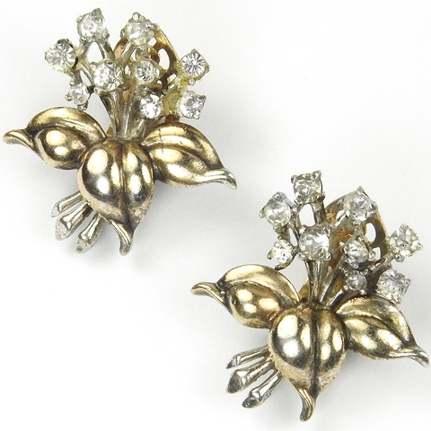 Trifari Sterling 'Alfred Philippe' Gold Leaves and Spangled Flowers Clip Earrings
