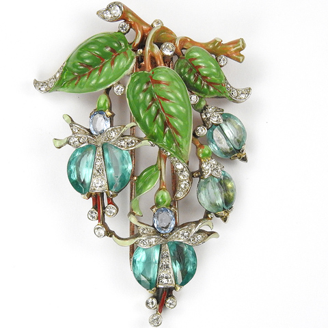 Trifari 'Alfred Philippe' Aquamarine Demilune Triple Enamel Leaved Fuchsia Pin Clip