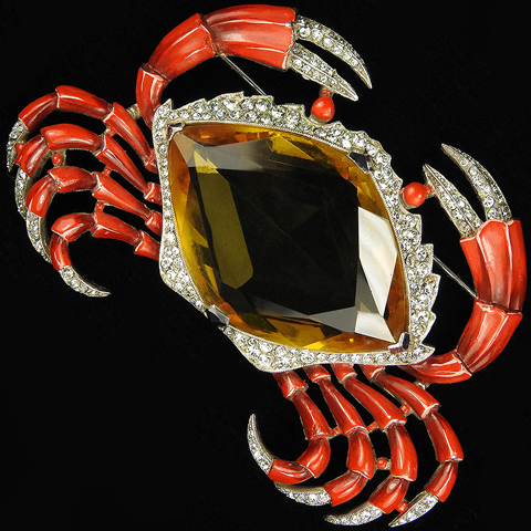 Trifari 'Alfred Philippe' Pave Red Enamel and Citrine Giant Crab Pin