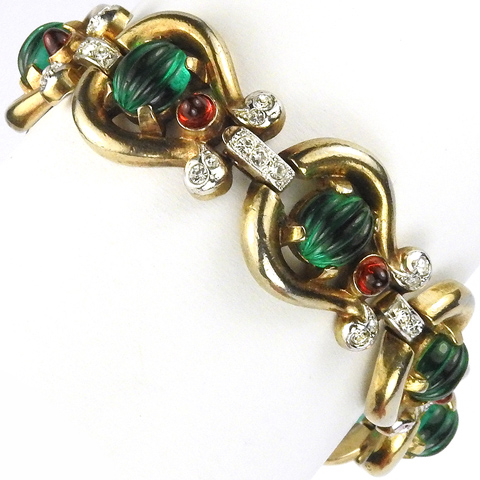 Trifari 'Alfred Philippe' Moghul Jewels 'Scheherezade' Lyre Shaped Link Bracelet