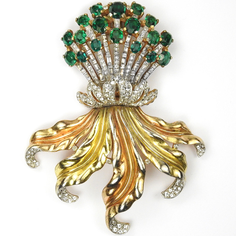 Trifari 'Alfred Philippe' Pave Emeralds and Gold Leaves Giant Floral Spray Pin Clip