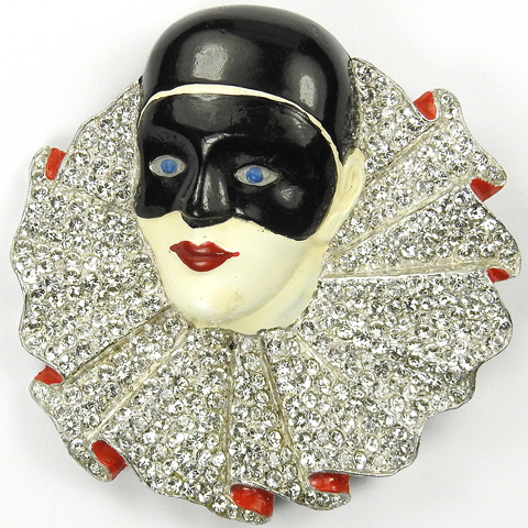 Trifari 'Alfred Philippe' Pave and Enamel Masked Harlequin Pin Clip