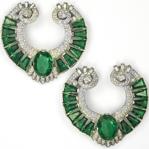 KTF Trifari 'Alfred Philippe' Pair of Pave and Emerald Shield Swirl Dress Clips