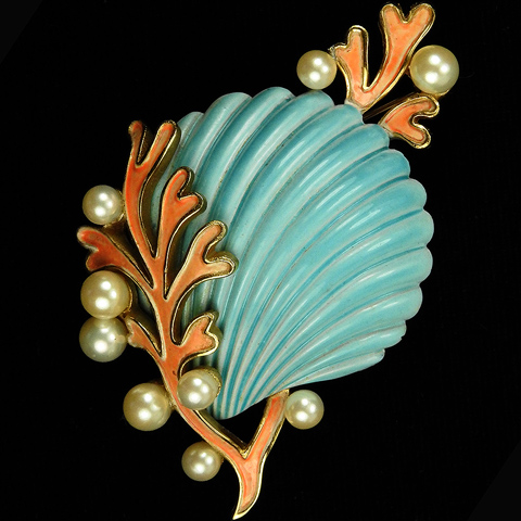 Trifari 'Alfred Philippe' Pearls and Angel Coral Blue Seashell Pin