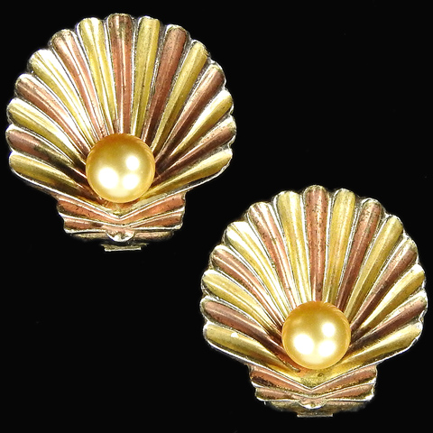 Trifari 'Alfred Philippe' Pearl in a Yellow and Rose Gold Seashell Clip Earrings