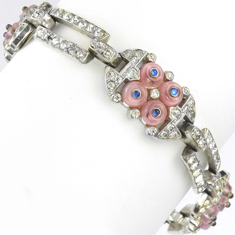 KTF Trifari 'Alfred Philippe' Pink 'Shoebutton' Clusters Deco Bracelet