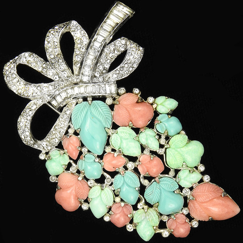 KTF Trifari 'Alfred Philippe' Pastel Fruit Salads Cluster with Pave and Baguettes Bow Pin