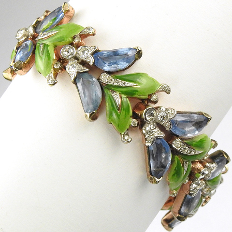Trifari 'Alfred Philippe' Gold Blue Topaz and Enamelled Leaves Demilune Bracelet
