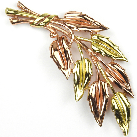Trifari 'Alfred Philippe' Spray of Two Colour Gold Leaves Pin