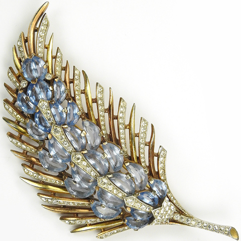 Trifari 'Alfred Philippe' Two Colour Gold Pave and Blue Topaz Demilunes Floral Spray Pin