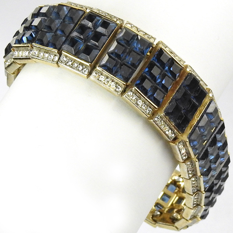 Trifari 'Alfred Philippe' Gold Pave and Invisibly Set Sapphire Squares Articulated Bracelet